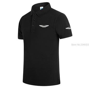 Nowe markowe koszulki POLO męskie drukowane Aston Martin koszulki Polo bawełniana koszulka Polo z krótkim rękawem stójka w stylu Casual męska koszulka POLO tanie i dobre opinie REGULAR Stałe NONE Anty-pilling COTTON OnesLNN Na co dzień