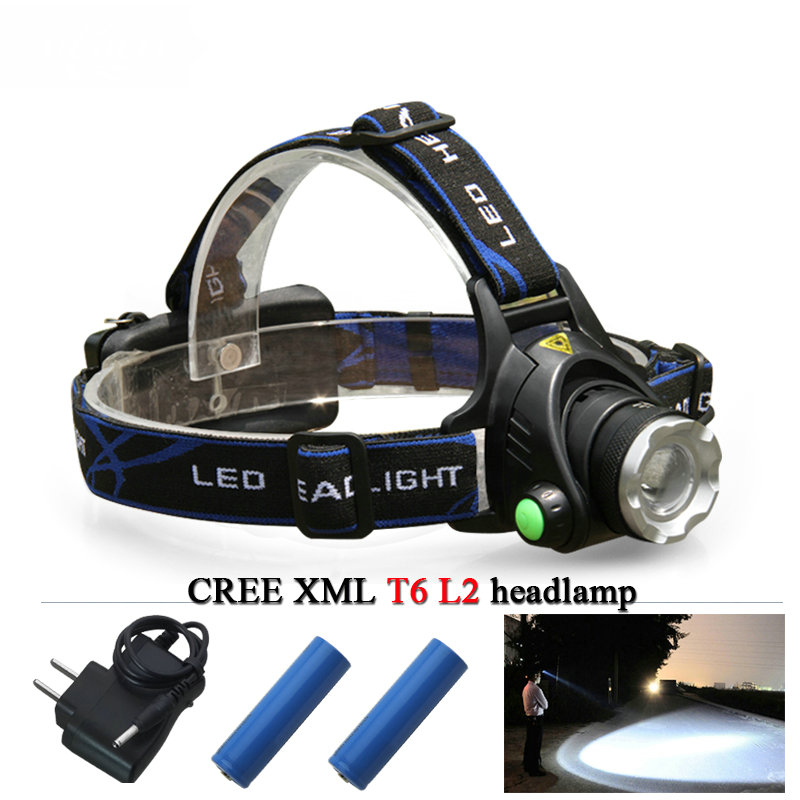 High Power LED Torch Headlight Cree T6 Xml L2 Zoomable Head Lamp 18650 Rechargeable Battery LED Flashlight Head Night Lights