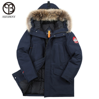 Asesmay Winter Jacket Men Padded Parka Clothing Large Sizes Hooded Fur Collar Thickening Russian Mens Winter Jackets and Coats