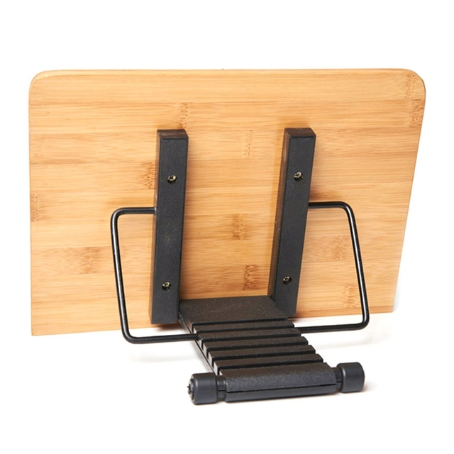 Page Paper Clips Portable Book Stand Bamboo Holder Bookshelf School With Tray Adjustable