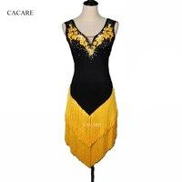 CACARE Latin Dance Dress Women Girls Latin Dance Competition Dresses Salsa Fringed Dress D0182 Rhinestones Tassels Appliques