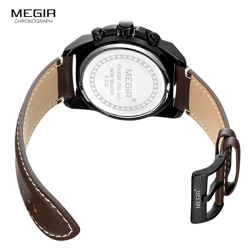 Image 5 - MEGIR Mens Chronograph Sport Quartz Watches Leather Strap Top Brand Luxury Army Wristwatch Relogios Masculino Clock 2118 BlackQuartz Watches   -