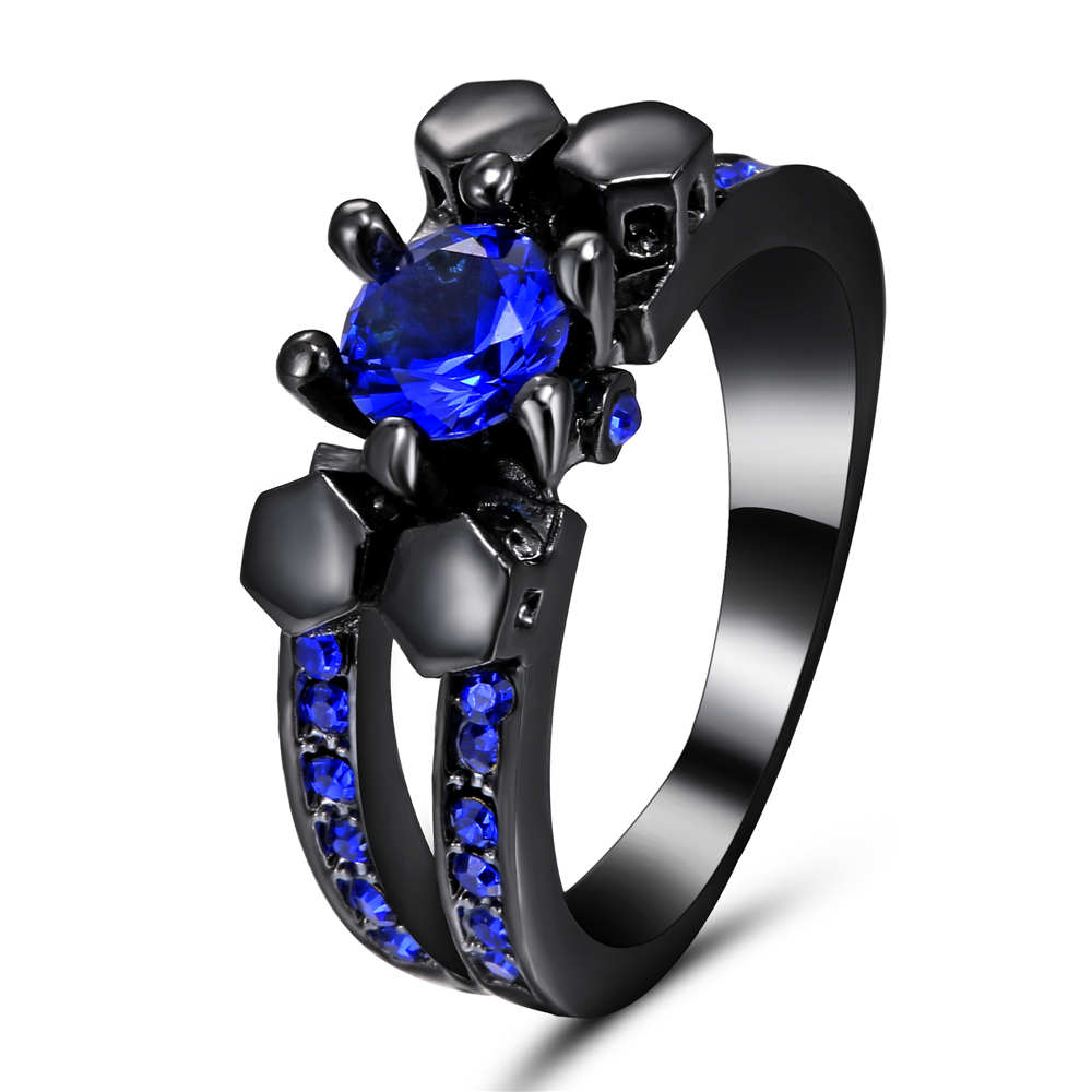 Top Quality Black Silver Gold Color Blue CZ Cubic Zirconia Ring Bague Fashion Cubic Zirconia Anniversary Jewelry For Women Size8