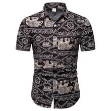 Hawaiian Shirt Ethnic style Elephant pattern Short sleeve Linen Shirts Men dress Summer Blouse New