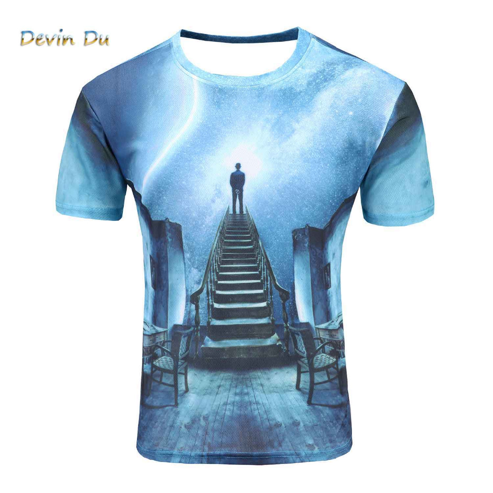2017 new galaxy space 3D t shirt A person watching meteor shower tops tee short sleeve summer shirts for men plus size dropship