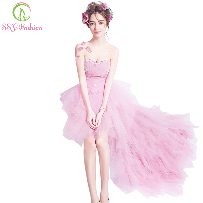 SSYFashion sexy strapless sleeveless short front long back cocktail dress pink asymmetrcal beading banquet party formal
