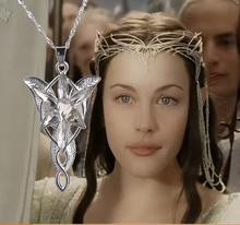 Movie Lord of The Rin gs Hobbit Elves Princess Aragorn Arwen Evenstar Twilight Star Jewelry Silver Plated Pendant Necklace Chain
