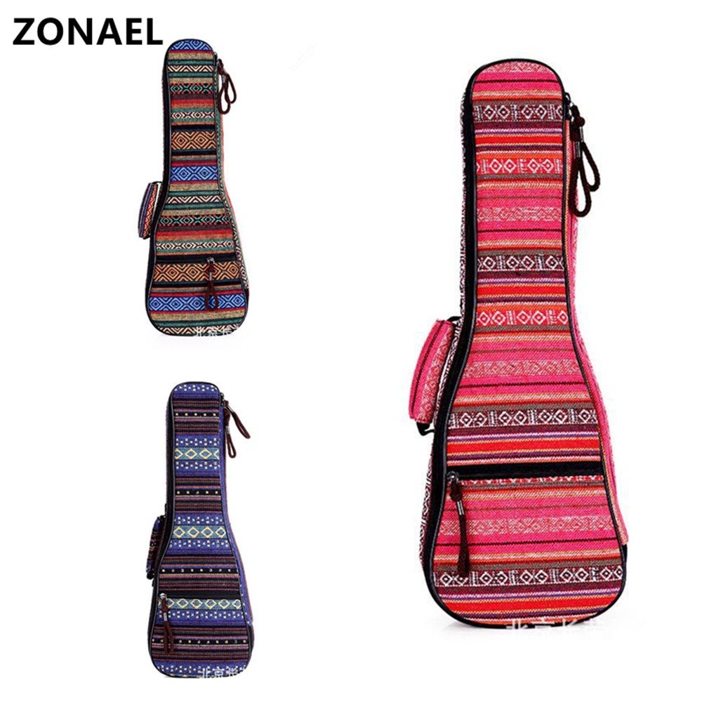 ZONAEL 21 23 26 Inch Double Strap Hand Folk Canvas Ukulele Carry Bag Cotton Padded Case For Ukulele Guitar Parts Accessories