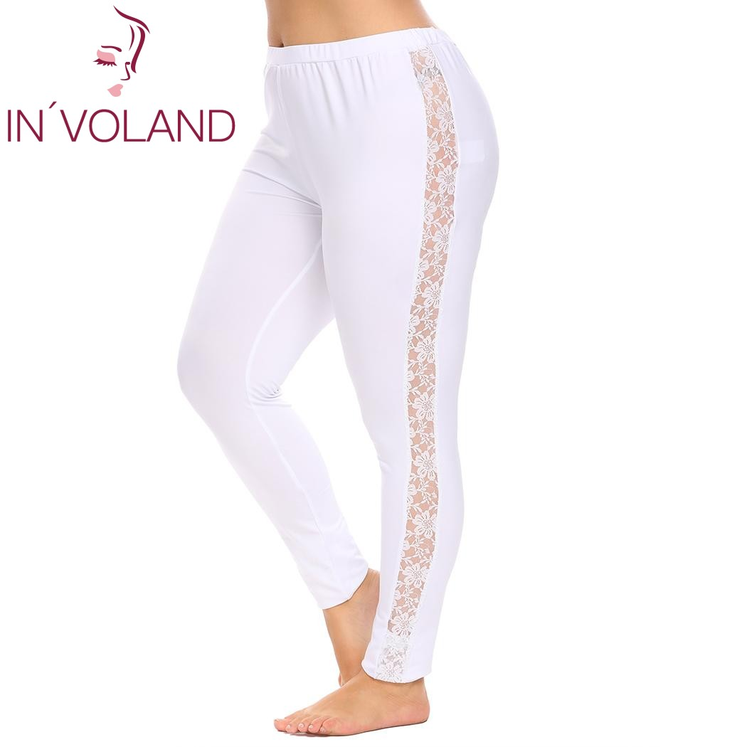 IN'VOLAND Plus Size XL-5XL Women Legging Pant High Waist Sexy Lace Patchwork Hollow Out Stretch Large Legging Trousers Big Size