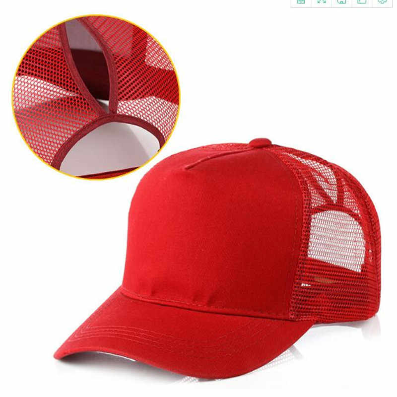 ... Xuyijun Ponytail Baseball Cap Women Messy Bun Baseball Cap Girls Snapback  Caps Summer Sports Mesh Hats ... b39cc921f525