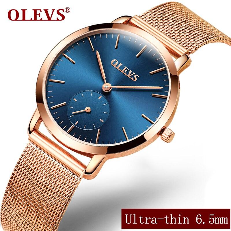 OLEVS Ultrathin Women Watch Top Brand Luxury Mesh Steel Strap Gold Wristwatch Clock Quartz Ladies Watches relogio feminino L5871 microcontroller