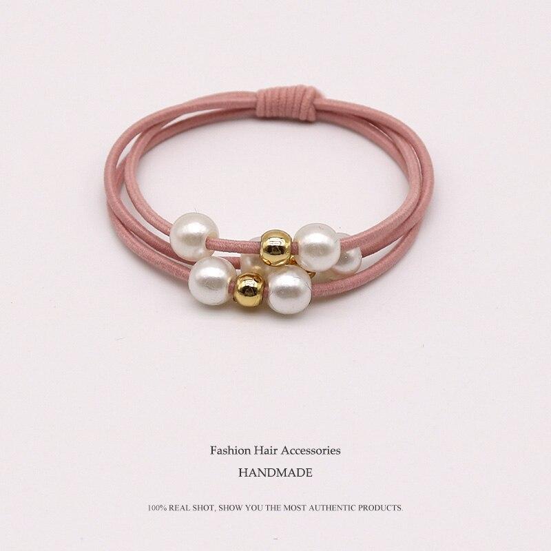 2019 Women Girls Pearl Elastic Hair Bands Ring   Headwear   Girl Elastic Hair Band Ponytail Holder Scrunchy Rope Hair Accessories