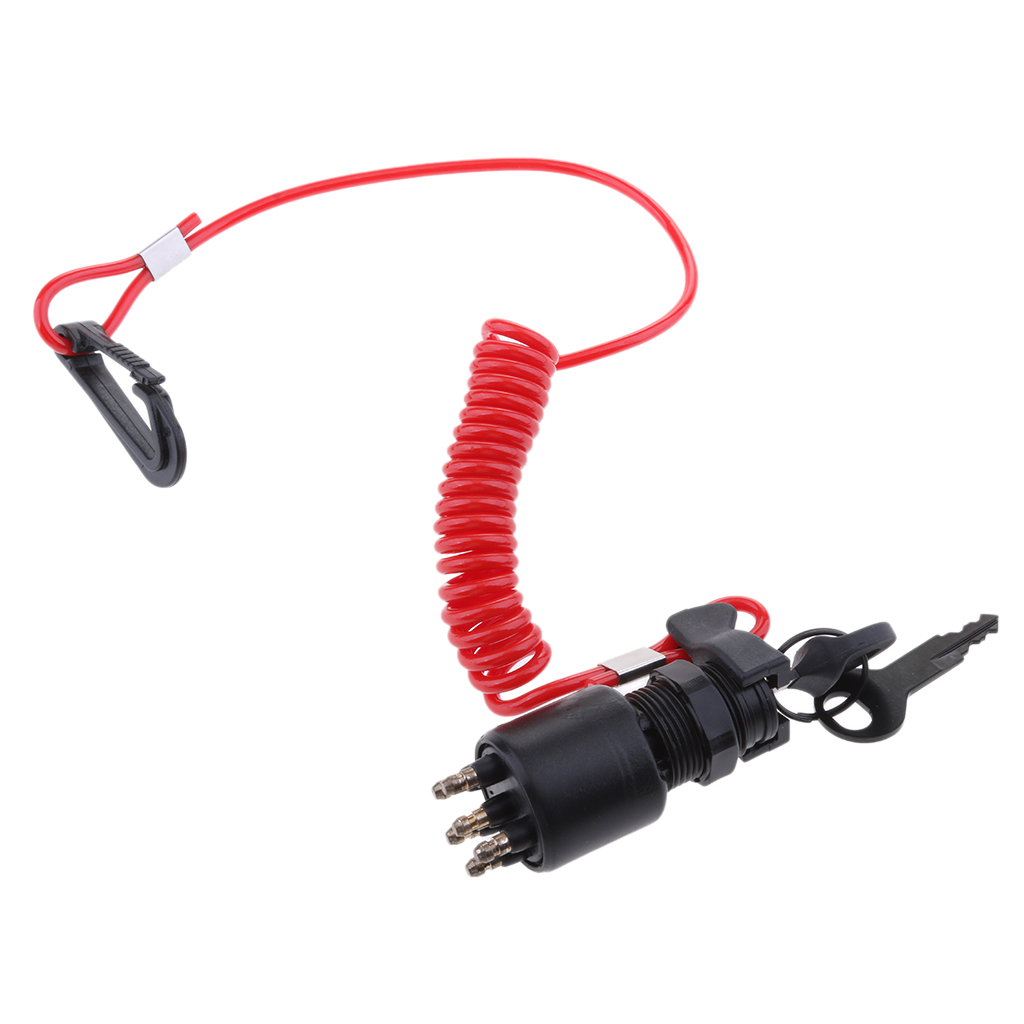 Ignition Switch Key Safety Lanyard Lock Assembly  For OMC BRP 1996 Up Johnson Evinrude 5005801