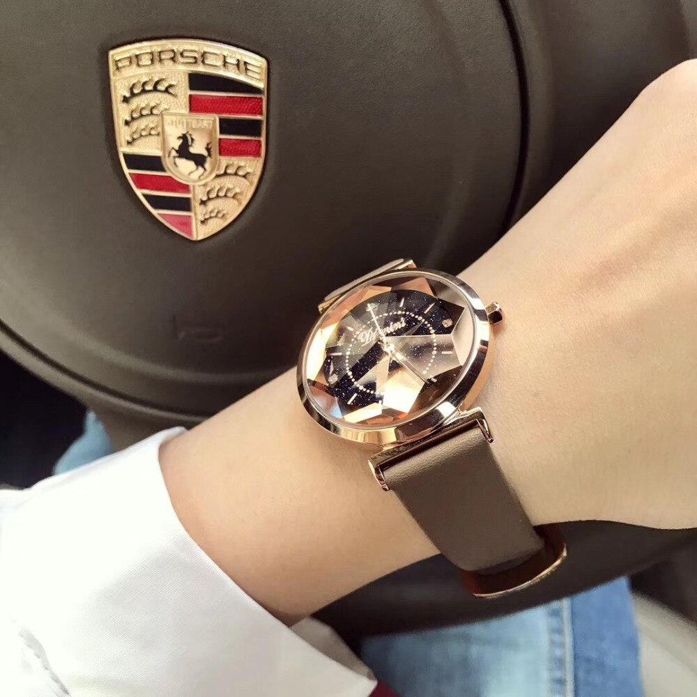Mode bonbons couleurs vrai cuir montres pour femmes personnalisé Multi facettes étoile verre montre-bracelet Quartz cristal montre 3 Bars