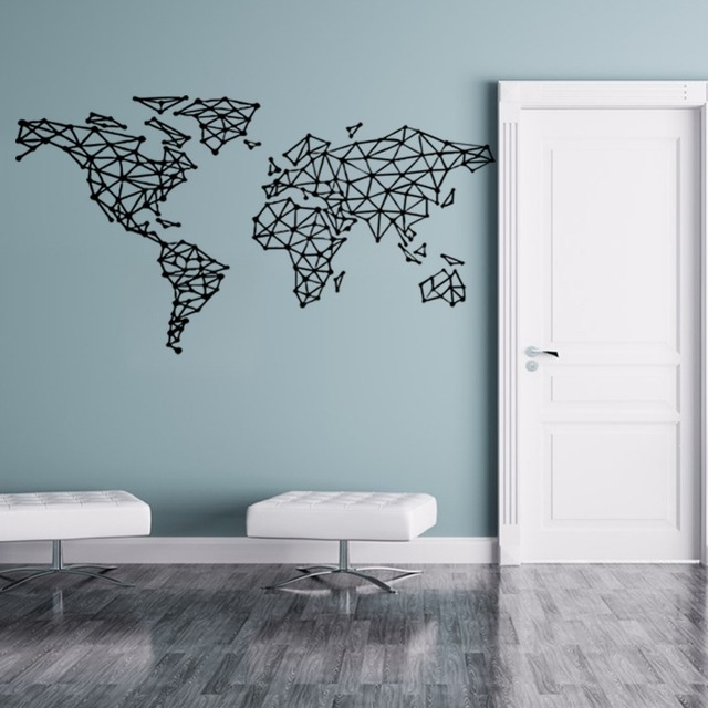 Free Shipping Map Of The World Vinyl Wall Decal Home Decor Removeable Vinly Wall  Decals Office