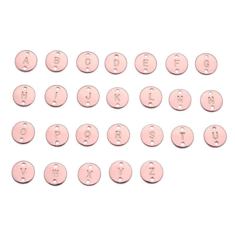 (26 Pcs) a-Z Double Side Đĩa Ban Đầu Chữ Bảng Chữ Cái Mặt Dây Chuyền Tay Đóng Dấu Capital Letter Quyến Rũ Cho Vòng Tay Vòng Cổ DIY Hot