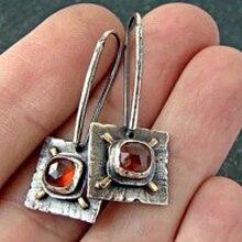 Vintage antiguo plata Color cuadrado pendiente colgante bohemio Punk gota rojo pendientes para mujer joyería creativa O3D239