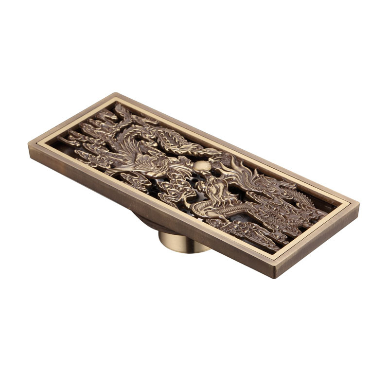 Chinese Style Antique Brass Bathroom Linear Shower Drain Floor Drainer Trap Waste Grate Strainer Dragon And Phoenix