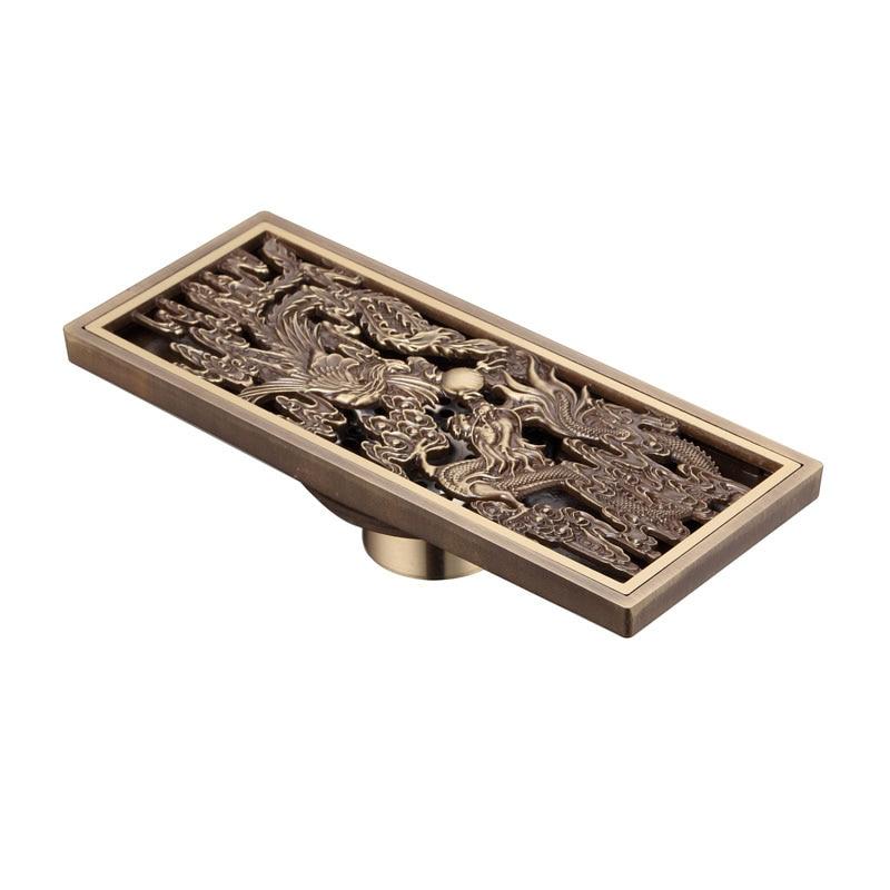 Style chinois Antique en laiton salle de bains linéaire douche Drain sol égouttoir piège déchets grille crépine Dragon et Phoenix