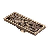 Trung quốc Phong Cách Antique Brass Tắm Tuyến Tính Vòi Hoa Sen Xả Tầng Drainer Trap Thải Grate Lọc Con Rồng Và Phượng