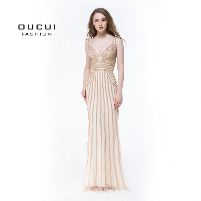 Real Photos Tulle Crystal Gold Color Party Occasion Formal Long