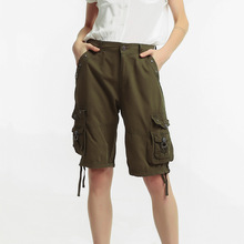 Summer pants purified cotton multi-pocket loose overalls women thin casual knee length for qm2202