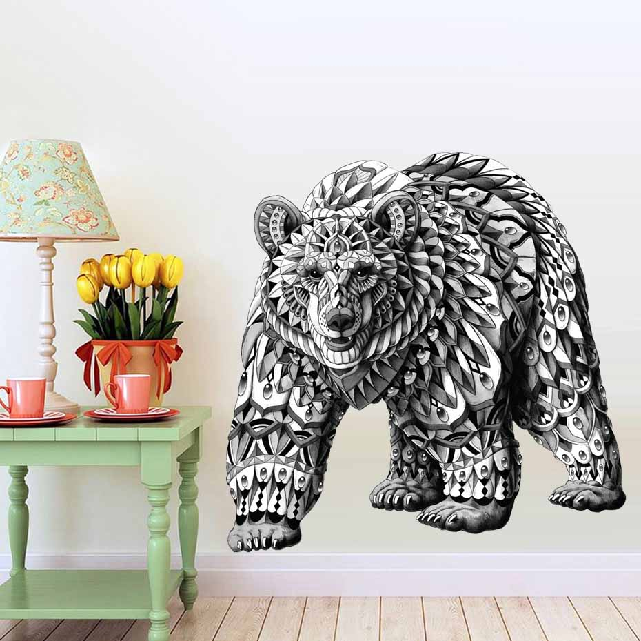 Black And White Detailed Bear Wall Stickers Animal Art