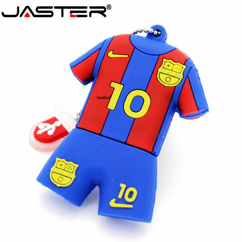 Jaster Barcelona Messi 32 GB 2.0 Flash Drive USB Sepak Bola Jersey Model Pen Drive Memori Stick 4 GB 8GB gb 16 GB Flashdisk U Disk
