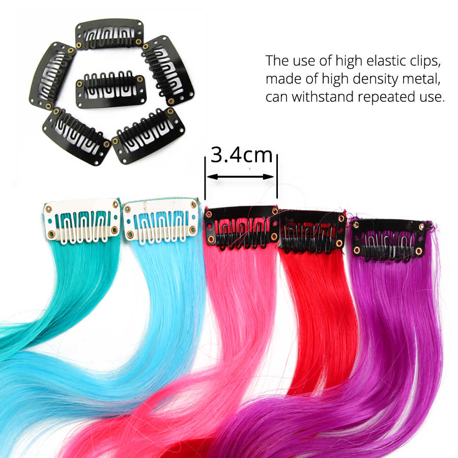 Alileader Long Body Wave Fake Colored Hair Extensions Clip In Highlight Rainbow Hair Streak Ombre Pink Synthetic Hair On Clips