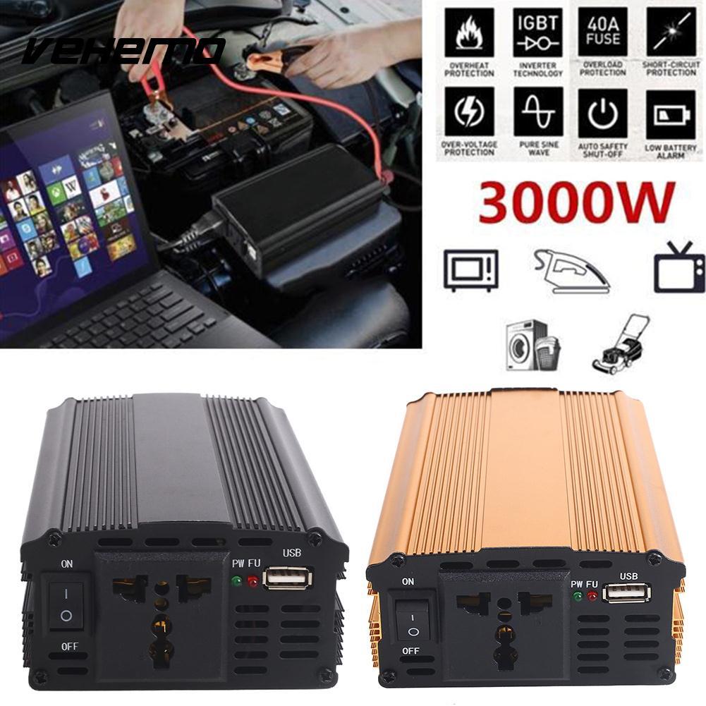 3000W DC12V To AC220V Travel Car Inverter Portable Vehicles Converter Stable Tools Power Inverter Automobiles