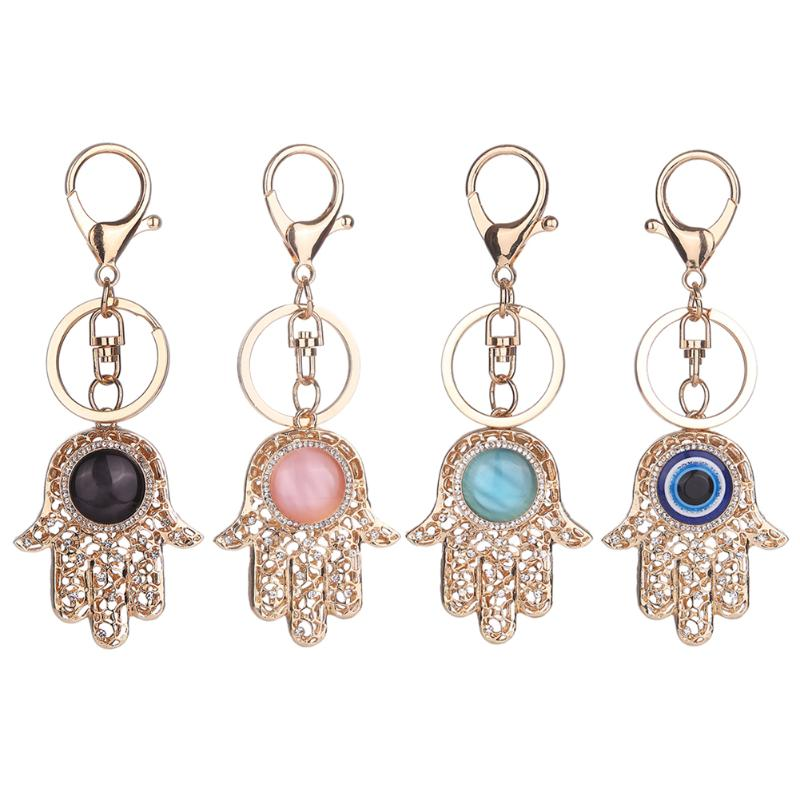 Charm Fatima Hand Shape Evil Eye Keychains Purse Bag Buckle Pendant For Car Key Rings Key Chains Holder for Women Girls Gifts