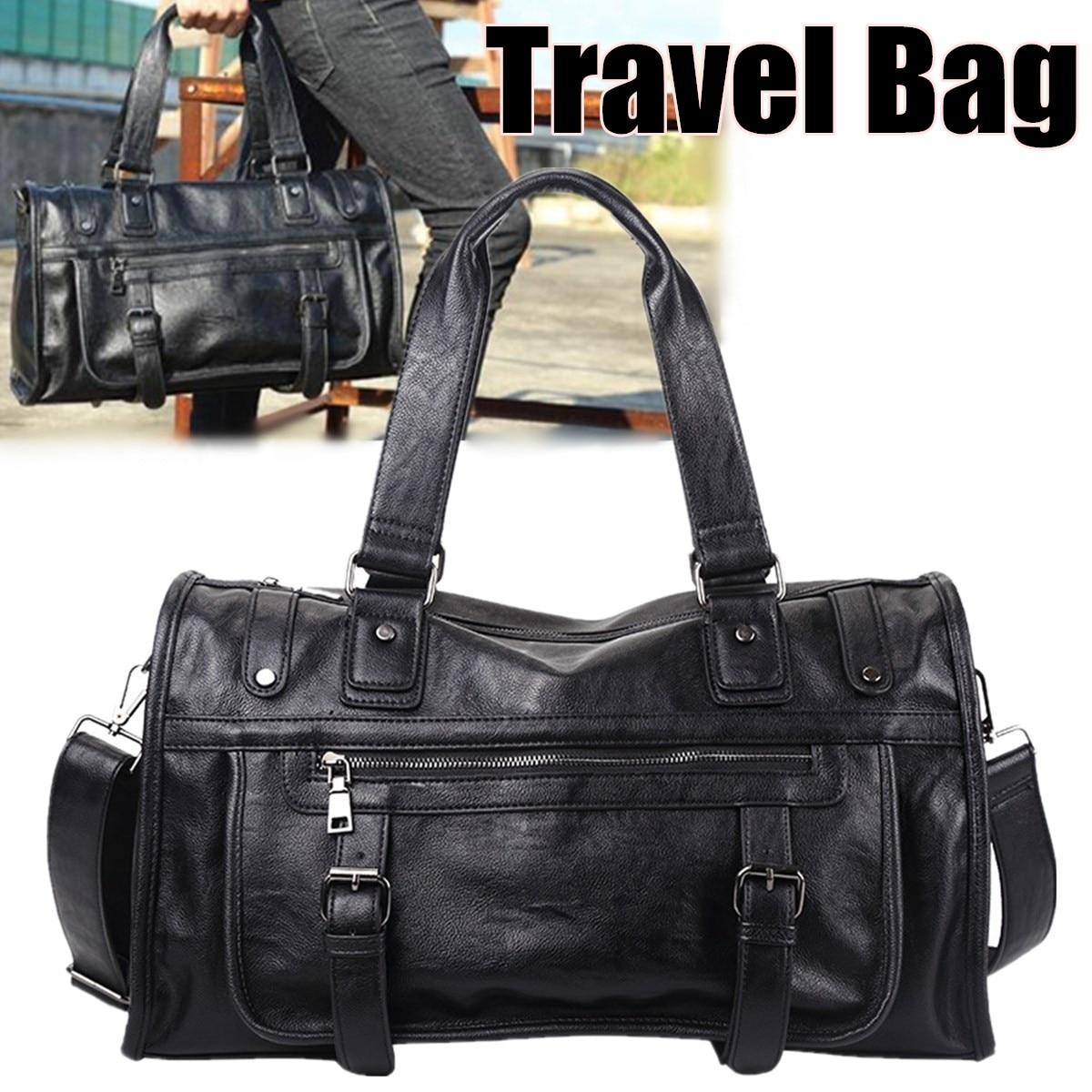 Luxury Brand Casual Travel Duffel Bag PU Leather Men Handbags Big Large Capacity Travel Bags Black Mens Messenger Bag Tote Black