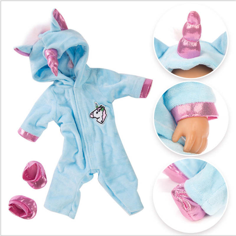 Born Baby Doll Clothes Fit 18 Inch 40-43cm Pink And Blue Color Unicorn Doll Clothes Accessories For Baby Festival Birthday Gift