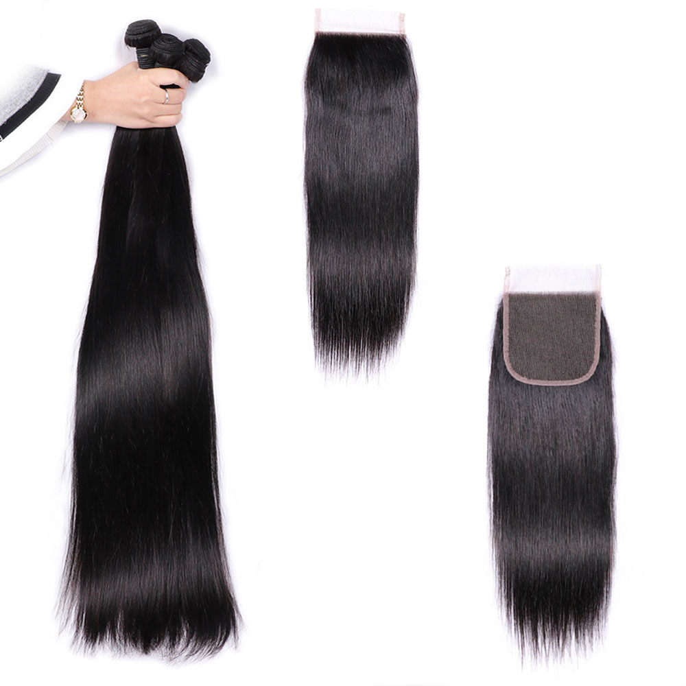 UEENLY Long-Hair Bundles Closure Weave 36-38-40inch 34 with 30-32 Remy