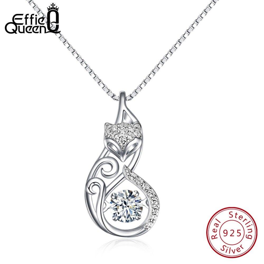 Effie Reine Cristal Femmes S925 Sterling Argent Colliers Mignon Renard Pendentif Collier pour les Femmes Dame Fille Bijoux Meilleur Cadeau BN53