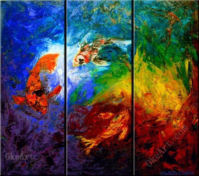 the three koi oil painting on canvas decorative acrylic wall panels