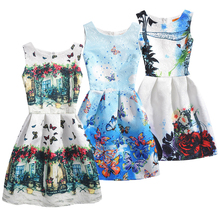 2017 Sleeveless Baby Girl Dress Birthday Brand Vestidos Children Clothing Party Princess Print Kids Clothes O-Neck Summer Dress
