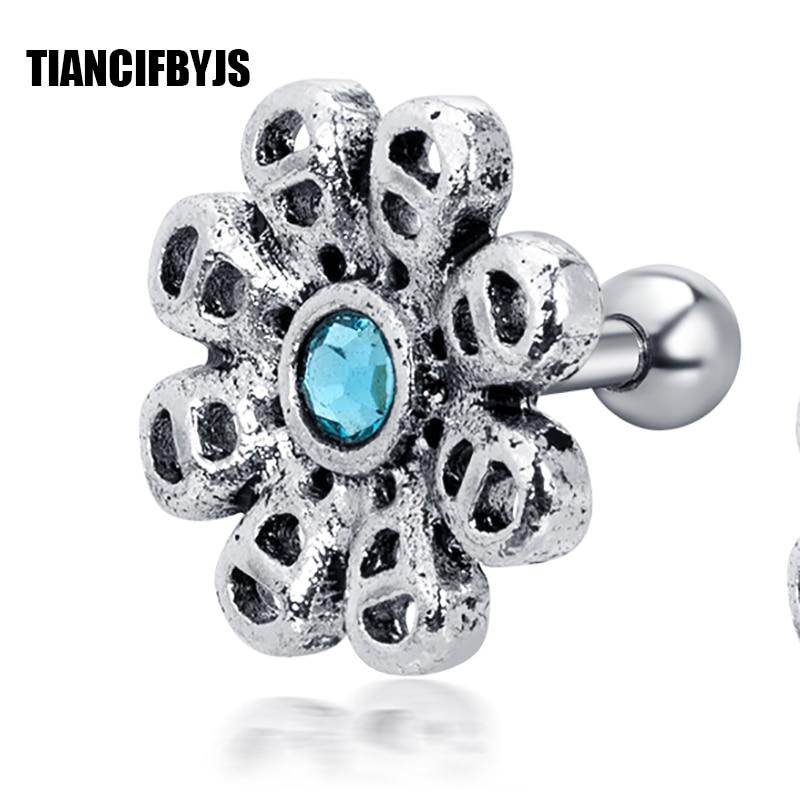 TianciFBYJS CZ Crown Earring Helix Tragus Orbital Ear Studs Cartilage Piercing 16g NEW Ear Ring Body Piercing Jewellery