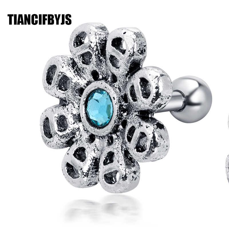 TianciFBYJS CZ серьга с короной спираль трагус орбитальные серьги шпильки хряща пирсинг 16 г новые серьги кольцо пирсинг ювелирные изделия