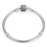 DIY 925 Sterling Silver Basic Snake Chains Clasp Bracelets Fit European Bracelets Bangles Shiny Rhinestones Bracelet
