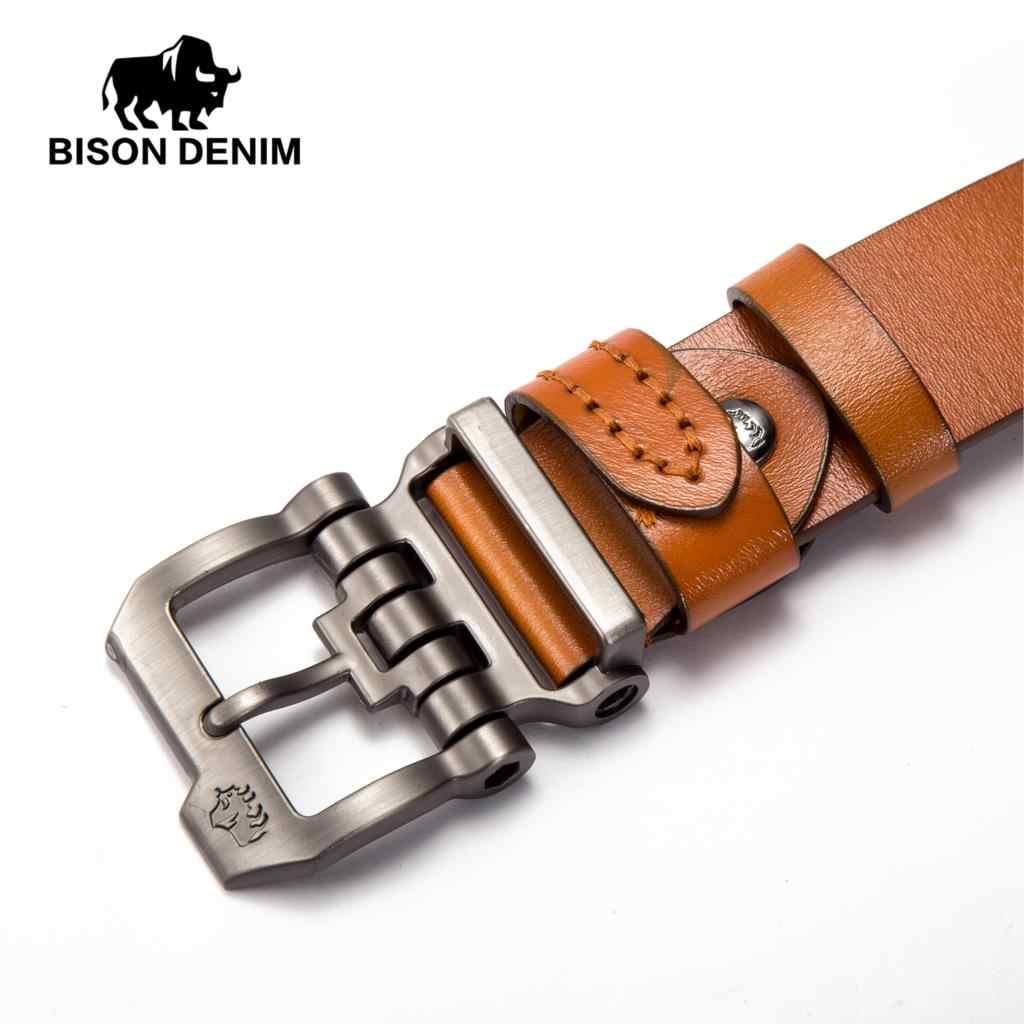 バイソンデニムブランドのベルト牛革本物の Lether ピンバックル高品質男性ストラップヴィンテージジーンズ N71223