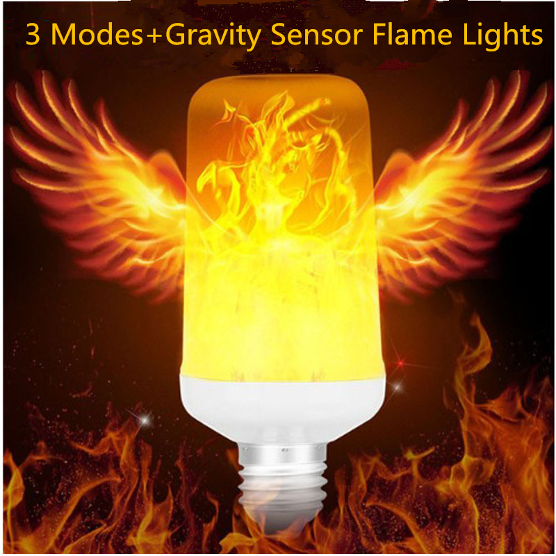 Creative 3 Modes+Gravity Sensor Flame Lights E27 2835 LED Flame Effect Fire Light Bulb Flickering Emulation Decor Lamp AC90-265VCreative 3 Modes+Gravity Sensor Flame Lights E27 2835 LED Flame Effect Fire Light Bulb Flickering Emulation Decor Lamp AC90-265V