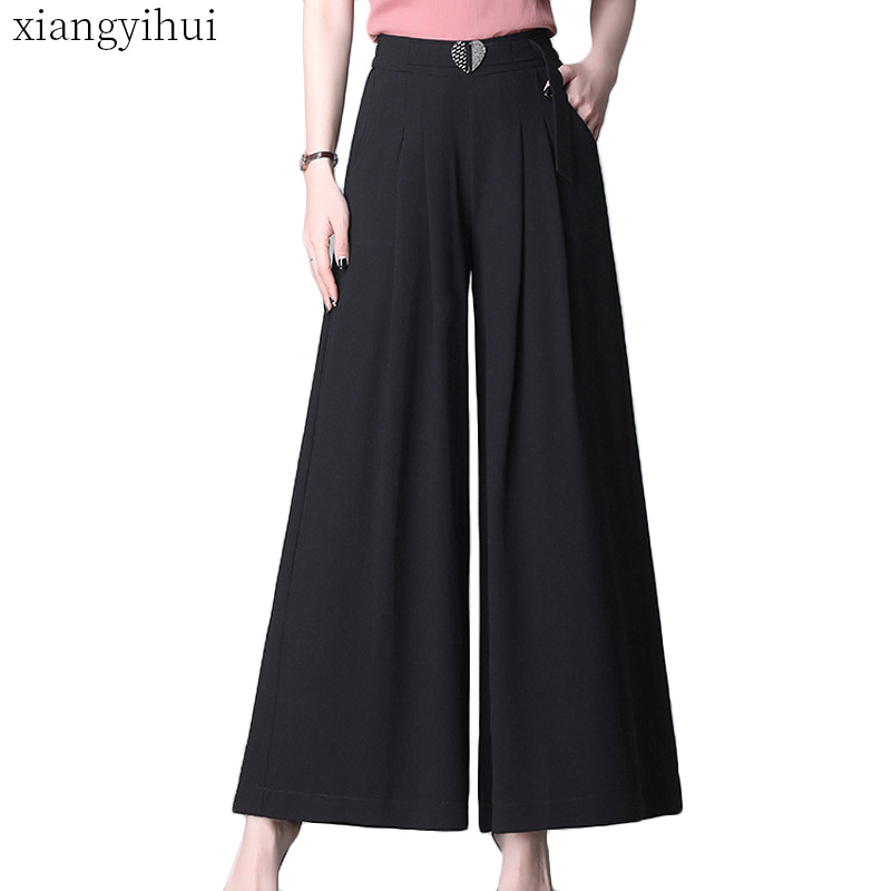 Casual   Wide     Leg     Pants   Long Trousers for Female Summer High Elastic Waist Loose   Pants   Women Clothing Double Pockets Office   Pants