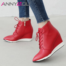 ANNYMOLI Winter Ankle Boots Women Boots Zipper Wedge High Heel Short Boots Lace Up Pointed Toe Shoes Ladies Fall Red Size 34-40 ladies sexy pointed toe blue denim lace up short boots super high heel jean ankle booties street fashion boots