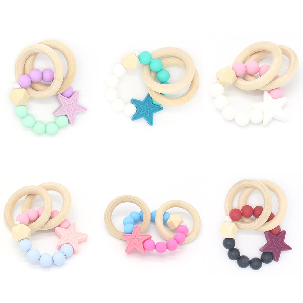 HANDMADE BABY GIRL DAISY SILICONE BEAD BANGLE TEETHING RING TOY TEETHER