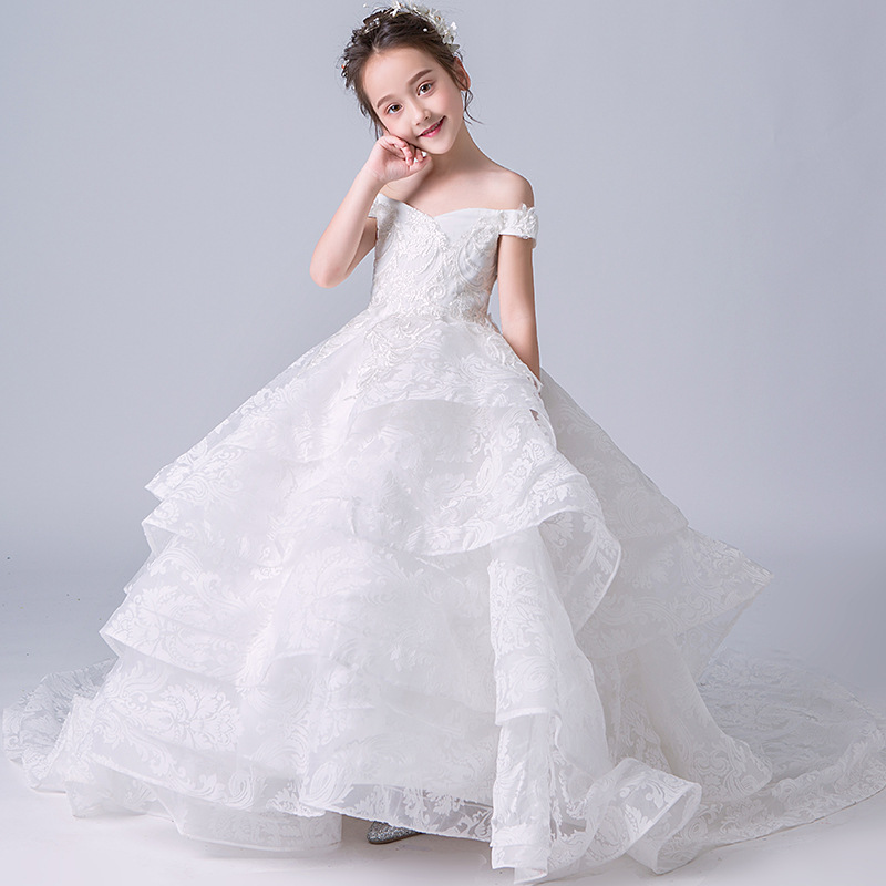 Royal Trails Ball Gown White Princess Dress Long Flower Girl Dress Lace Tulle Girls Pageant Gown First Communion Dress AA03Royal Trails Ball Gown White Princess Dress Long Flower Girl Dress Lace Tulle Girls Pageant Gown First Communion Dress AA03