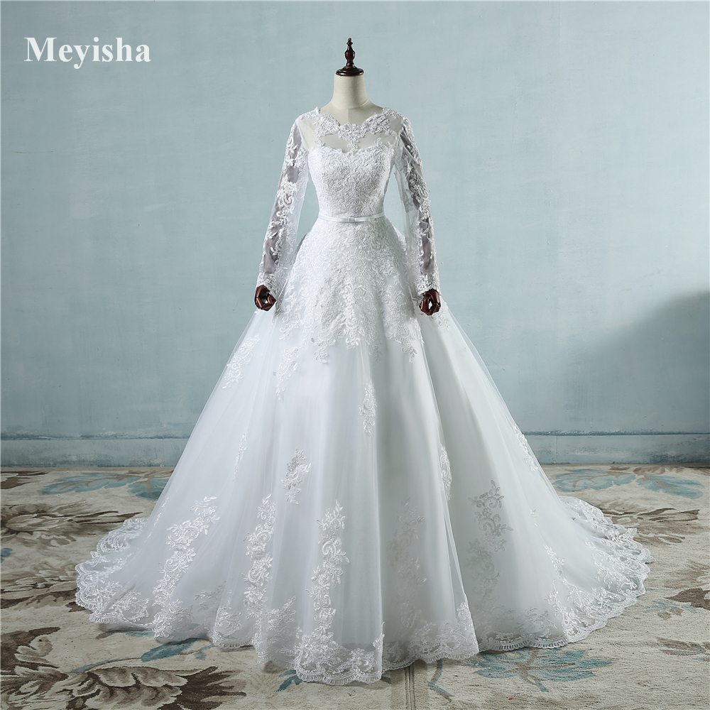 ZJ9065 New Arrival 2019 Long Sleeve Wedding Dresses Sheer Tulle Back Sexy Bride Dresses Wedding Gowns Pearls Princess