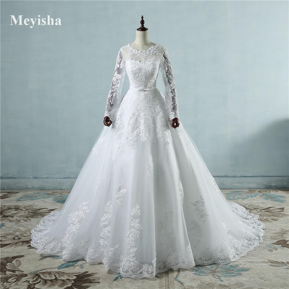 ZJ9065 nouveauté 2019 robes de mariée à manches longues transparent Tulle dos Sexy robes de mariée robes de mariée perles princesse