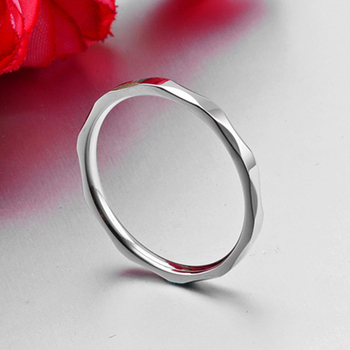 Small Ring for Women and Men Silver/Rose Gold Color Stainless Steel Wedding Ring 2mm Width Exquisite Ring 4