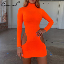 Simenual Neon Color Sexy Hot Bodycon Women Dresses Long Sleeve Cut Out Dress Fashion 2019 Autumn Slim Clubwear